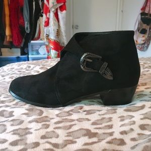 NastyGal Black Ankle Booties with Buckle